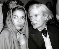 1978 <br /> New York City<br /> Bianca Jagger Andy Warhol at Studio 54<br /> Credit: Adam Scull-PHOTOlink/MediaPunch