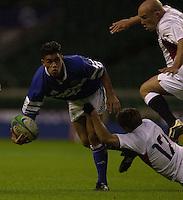 24/05/2002 (Friday).Sport -Rugby Union - London Sevens.England vs Samoa.[Mandatory Credit, Peter Spurier/ Intersport Images].
