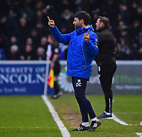 Lincoln City manager Danny Cowley shouts instructions to his team from the technical area<br /> <br /> Photographer Andrew Vaughan/CameraSport<br /> <br /> The EFL Sky Bet League Two - Lincoln City v Notts County - Saturday 13th January 2018 - Sincil Bank - Lincoln<br /> <br /> World Copyright &copy; 2018 CameraSport. All rights reserved. 43 Linden Ave. Countesthorpe. Leicester. England. LE8 5PG - Tel: +44 (0) 116 277 4147 - admin@camerasport.com - www.camerasport.com