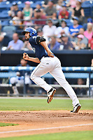 Asheville Tourists first baseman Jacob Bosiokovic (21) runs to first base during a game against the Rome Braves at McCormick Field on June 24, 2017 in Asheville, North Carolina. The Tourists defeated the Braves 6-5. (Tony Farlow/Four Seam Images)
