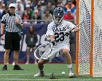 Foxborough, Massachusetts - May 28, 2018: NCAA Division I tournament final. Yale University (white) defeated Duke University (blue/white), 13-11, at Gillette Stadium.<br /> Save.