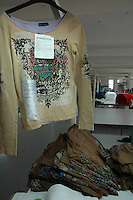 A finshed sample hanging at Srinidhi garment stitching factory in Tirupur, Tamilnadu. After lifting of quota system in textile export on 1st january 2005. Tirupur has become the biggest foreign currency earning town of India.