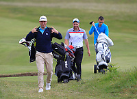Thomas Hackett (The Royal Dublin), Declan Reidy (Co. Sligo) and Ian Lynch (Rosslare) after finishing on the 9th during Round 3 of the East of Ireland Amateur Open Championship at Co. Louth Golf Club in Baltray on Sunday 4th June 2017.<br /> Photo: Golffile / Thos Caffrey.<br /> <br /> All photo usage must carry mandatory copyright credit     (&copy; Golffile | Thos Caffrey)