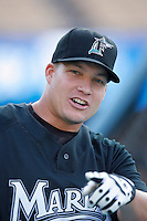Mike Jacobs of the Florida Marlins during batting practice before a game from the 2007 season at Dodger Stadium in Los Angeles, California. (Larry Goren/Four Seam Images)