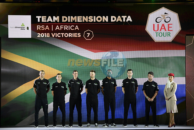 Team Dimension Data on stage at the inaugural UAE Tour 2019 opening ceremony and team presentation held in the Louvre Abu Dhabi, United Arab Emirates. 23rd February 2019.<br /> Picture: LaPresse/Fabio Ferrari | Cyclefile<br /> <br /> <br /> All photos usage must carry mandatory copyright credit (© Cyclefile | LaPresse/Fabio Ferrari)