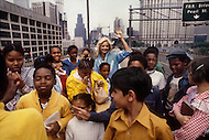 June 1979. Manhattan, NY. Portrait of Sylvie Vartan on the Brooklyn Bridge.