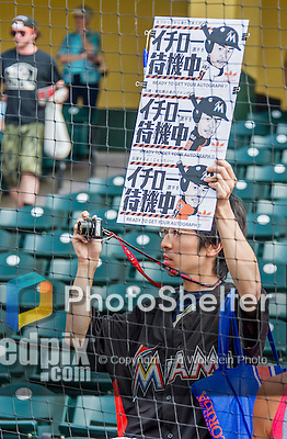 19 March 2015: A Miami Marlins Ichiro Suzuki Fan shows off a sign prior to a Spring Training game against the Atlanta Braves at Champion Stadium in the ESPN Wide World of Sports Complex in Kissimmee, Florida. The Braves defeated the Marlins 6-3 in Grapefruit League play. Mandatory Credit: Ed Wolfstein Photo *** RAW (NEF) Image File Available ***