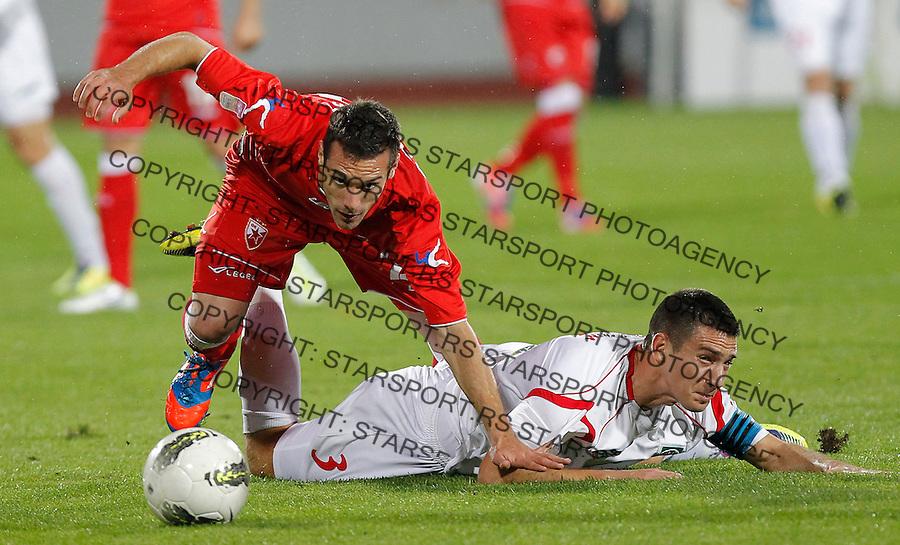 Fudbal Super liga season 2012-2013.Donji Srem v Crvena Zvezda.Marko Vesovic and Milos Josimov right.Novi Sad, 27.10.2012..foto: Srdjan Stevanovic/Starsportphoto ©
