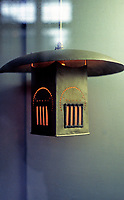 C.R. Mackintosh: Glasgow Style--Hanging Lamp. White Metal with opalescent inserts for White Dining Room, Ingram St. (Photo '87)