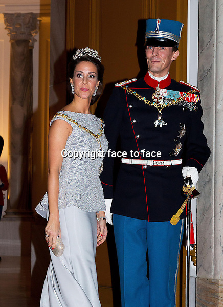 01-01-2014 Amalienborg Princess Marie and Prince Joachim at the New Years reception at Amalienborg in Copenhagen. (diadeem/tiara).<br />