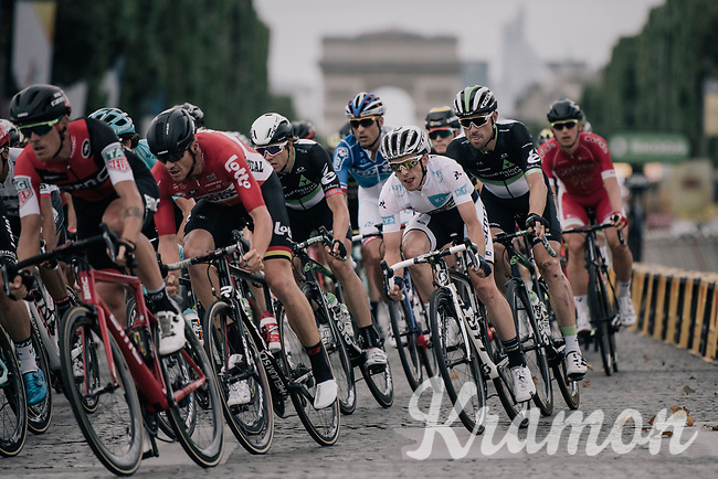 white jersey / best young rider Simon Yates (GBR/Orica-Scott) racing on the Champs-Elys&eacute;es<br /> <br /> 104th Tour de France 2017<br /> Stage 21 - Montgeron &rsaquo; Paris (105km)