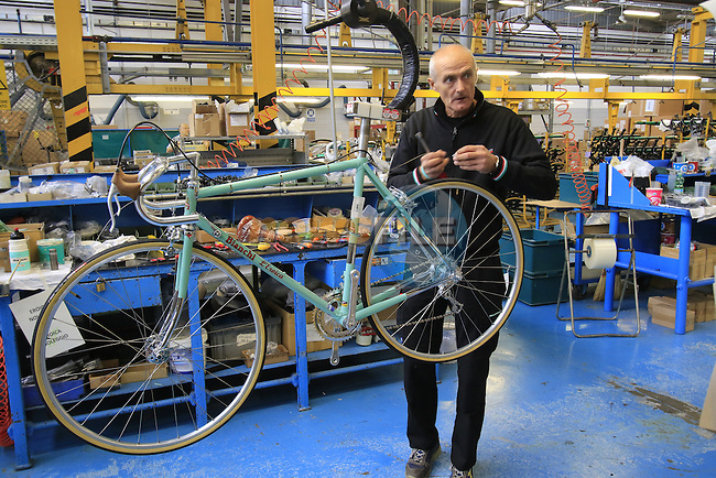 Final assembly for a  Bianchi L'Eroica special customer bike, Bianchi Factory, Treviglio, Italy. 30th September 2015.<br /> Picture: Eoin Clarke | Newsfile