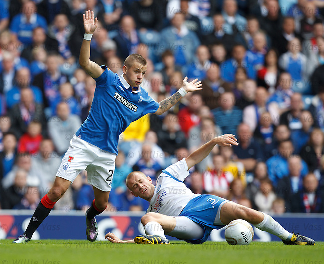 Vladimir Weiss is fouled in the box by Danny Grainger but no penalty is awarded much to the anger of the Rangers man