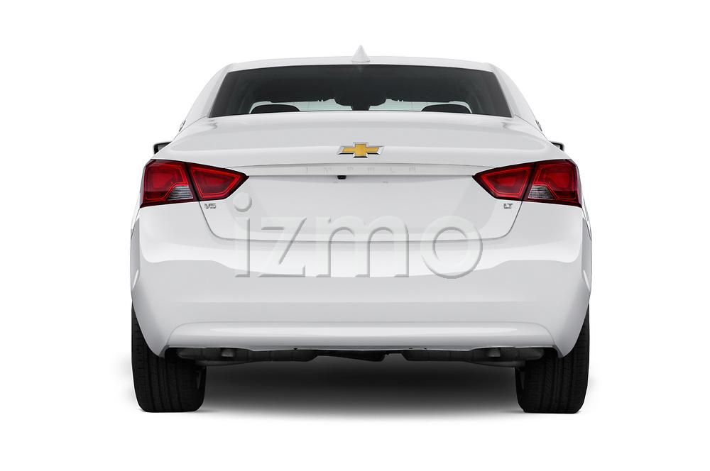 Straight rear view of a 2018 Chevrolet Impala 1LT 4 Door Sedan stock images