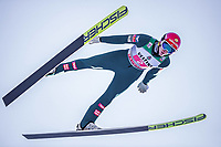 1st January 2020, Olympiaschanze, Garmisch Partenkirchen, Germany, FIS World cup Ski Jumping, 4-Hills competition; Philipp Aschenwald of Austria during his trial Jump for the Four Hills Tournament