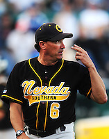 Jun. 1, 2010; Grand Junction, CO, USA; Southern Nevada Coyotes manager Tim Chambers against Iowa Western C.C. during the Junior College World Series as Suplizio Field. Southern Nevada won the game 12-7. Mandatory Credit: Mark J. Rebilas-