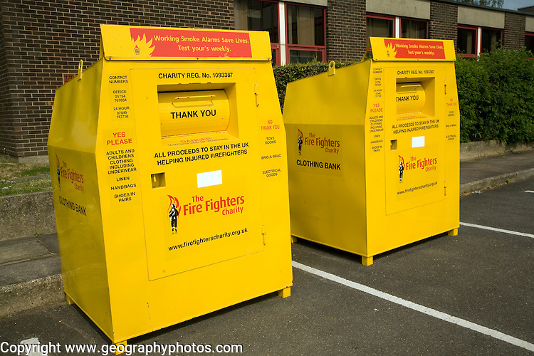 Yellow collection containers for the Fire Fighters charity Clothing Bank