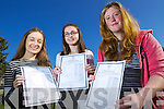 Lauren Kelly (Tralee) Aoife O'Mahony (Tralee) and Mairead Brosnan (Ballymacelligott) students attending Presentation Secondary School, Tralee, who all received 10 a's in their Junior Certificate results on Wednesday morning.