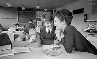 Having fun in class, Whitworth Comprehensive School, Whitworth, Lancashire.  1970.