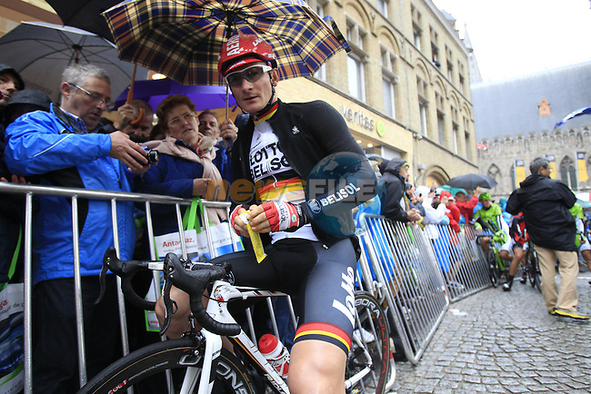 Andre Greipel (GER) Lotto-Belisol waits on the start line in Ypres before the start of the cobbled stage Stage 5 of the 2014 Tour de France running 155.5km from Ypres to Arenberg. 9th July 2014.<br /> Picture: Eoin Clarke www.newsfile.ie
