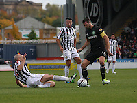 Jim Good win tackles Joe Ledley in the St Mirren v Celtic Clydesdale Bank Scottish Premier League match played at St Mirren Park, Paisley on 20.10.12.