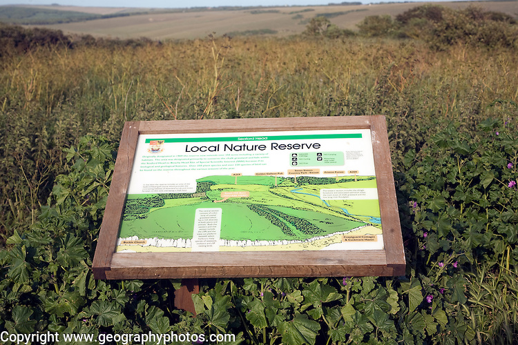 Local Nature Reserve information board, Seaford Head, East Sussex, England