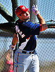 1 March 2010: Washington Nationals' third baseman Ryan Zimmerman takes Spring Training batting practice at the Carl Barger Baseball Complex in Viera, Florida. Mandatory Credit: Ed Wolfstein Photo