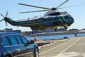Marine One, with United States President Barack Obama on board, arrives in New York, U.S., on Monday, September 23, 2013. <br /> Credit: Jin Lee / Pool via CNP