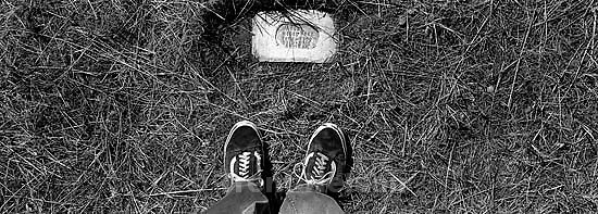 Trent feet and miner's grave in Eureka graveyard<br />