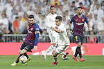 Real Madrid CF's Sergio Reguilon and FC Barcelona's Leo Messi (L), Luis Suarez during the King's Cup semifinals match. February 27,2019. (ALTERPHOTOS/Alconada)