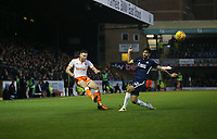 Blackpool's Oliver Turton gets in a cross under pressure from Southend United's Stephen Hendrie<br /> <br /> Photographer Rob Newell/CameraSport<br /> <br /> The EFL Sky Bet League One - Southend United v Blackpool - Saturday 17th November 2018 - Roots Hall - Southend<br /> <br /> World Copyright © 2018 CameraSport. All rights reserved. 43 Linden Ave. Countesthorpe. Leicester. England. LE8 5PG - Tel: +44 (0) 116 277 4147 - admin@camerasport.com - www.camerasport.com