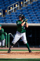 Daytona Tortugas right fielder T.J. Friedl (3) at bat during the first game of a doubleheader against the Clearwater Threshers on July 25, 2017 at Spectrum Field in Clearwater, Florida.  Daytona defeated Clearwater 4-1.  (Mike Janes/Four Seam Images)