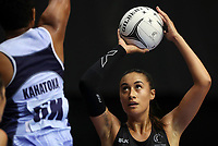 23.02.2018 Silver Ferns Maria Falau in action during the Silver Ferns v Fiji Taini Jamison Trophy netball match at the North Shore Events Centre in Auckland. Mandatory Photo Credit ©Michael Bradley.