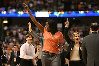 6 April 2008: Stanford Cardinal head coach Tara VanDerveer, assistant coach Bobbie Kelsey, and assistant coach Kate Paye during Stanford's 82-73 win against the Connecticut Huskies in the 2008 NCAA Division I Women's Basketball Final Four semifinal game at the St. Pete Times Forum Arena in Tampa Bay, FL.