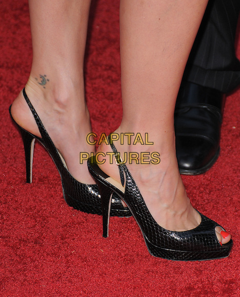 BRIDGET MOYNAHAN'S SHOES  .The 3rd Annual Leveday Hosted by Cartier held at a private estate in Bel Air, California, USA..June 18th, 2008.feet platform sling back snakeskin heels tattoo peep toe .CAP/DVS.©Debbie VanStory/Capital Pictures.