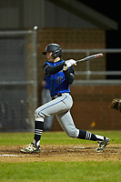 Gage Smith (10) of the Lake Norman Wildcats follows through on his swing against the Davie War Eagles at Davie County High School on March 7, 2018 in Mocksville, North Carolina.  The Wildcats defeated the War Eagles 12-0.  (Brian Westerholt/Four Seam Images)