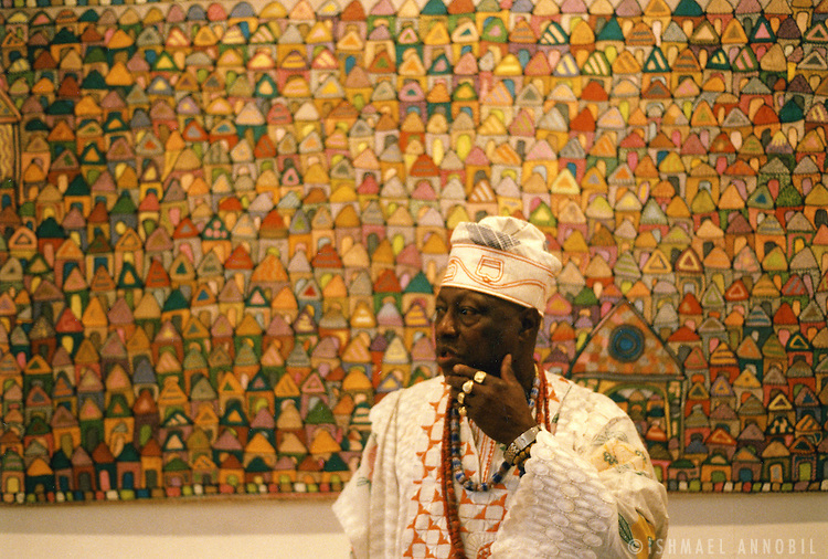 Nigerian artist Chief Olaruntoba at his October Gallery opening