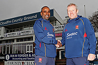 New Essex CCC Assistant Head Coach Dimitri Mascarenhas (L) poses for a photograph with Head Coach Anthony McGrath at The Cloudfm County Ground on 5th March 2018