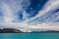 Dramatic sky over Aoraki / Mt Cook and Lake Pukaki, Mackenzie Country, New Zealand - stock photo, canvas, fine art print