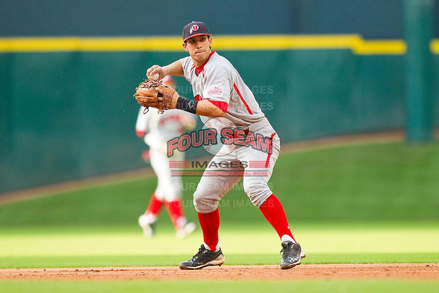 Michael Beltran #8 of the Utah Utes makes a throw to first base against the Texas A&M Aggies at Minute Maid Park on March 4, 2011 in Houston, Texas.  Photo by Brian Westerholt / Four Seam Images
