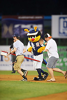 Binghamton Mets mascot Buddy the Bee during an on field clean the bases promotion during a game against the Trenton Thunder on May 29, 2016 at NYSEG Stadium in Binghamton, New York.  Trenton defeated Binghamton 2-0.  (Mike Janes/Four Seam Images)