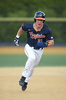 Jake McCarthy (31) of the Virginia Cavaliers hustles towards third base against the Wake Forest Demon Deacons at David F. Couch Ballpark on May 19, 2018 in  Winston-Salem, North Carolina. The Demon Deacons defeated the Cavaliers 18-12. (Brian Westerholt/Four Seam Images)