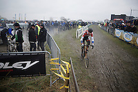Dutch National Champion Mathieu Van der Poel (NLD/BKCP-Corendon) out of the pits &amp; into the lead again<br /> <br /> Noordzeecross - Middelkerke 2016