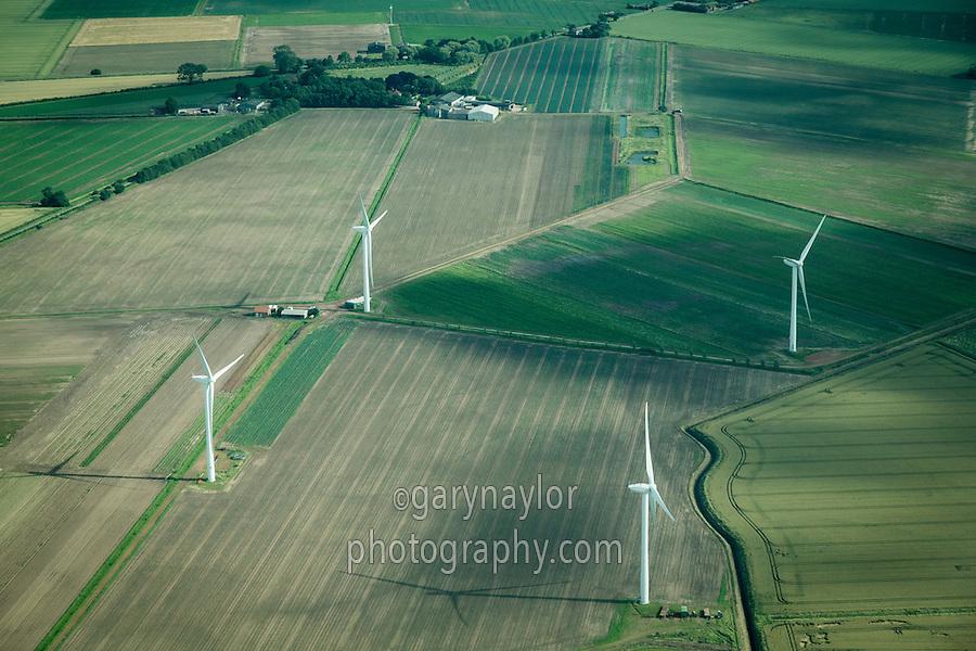 Aerial view of Gedney Marsh wind farm, Lincolnshire - 6 x 2mw turbines