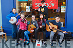 "Fleadh By The Feale Street Busking Competition held last Friday night ""Seisiún"" Cian O' Sullivan, Roisin O' Sullivan, Chloe Harnett, Kiera Riordan, Gearóid Collins, Daniel Woulfe."
