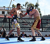"""CARSON, CA- MARCH 9: EIMANTAS STANIONIS vs SAMMY FIGUEROA during the Fox Sports """"PBC on Fox"""" Fight Night at Dignity Health Sports Park on March 9, 2019 in Carson, California. (Photo by Frank Micelotta/Fox Sports/PictureGroup)"""