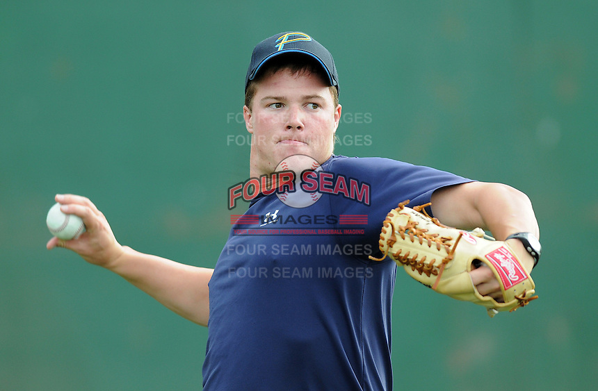July 7, 2008: Jeff Lyman of the Myrtle Beach Pelicans, Class A affiliate of the Atlanta Braves, in a game against the Wilmington Blue Rocks at BB&T Coastal Field in Myrtle Beach, S.C. Photo by:  Tom Priddy/Four Seam Image