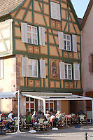 cafe terrace ribeauville alsace france