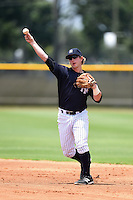 GCL Yankees 1 second baseman Ryan Lindemuth (2) throws to first during the second game of a doubleheader against the GCL Braves on July 1, 2014 at the Yankees Minor League Complex in Tampa, Florida.  GCL Braves defeated the GCL Yankees 1 by a score of 3-1.  (Mike Janes/Four Seam Images)