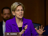 """United States Senator Elizabeth Warren (Democrat of Massachusetts) questions witnesses during testimony before the US Senate Committee on Armed Services during a hearing on """"Chain of Command's Accountability to Provide Safe Military Housing and Other Building Infrastructure to Service members and Their Families"""" on Capitol Hill in Washington, DC on Thursday, March 7, 2019.<br /> Credit: Ron Sachs / CNP"""
